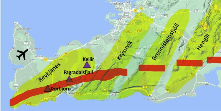 Reykjanes Peninsula Volcanic Zones Map.