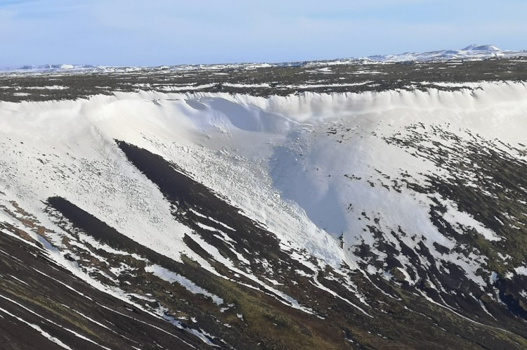 Avalanche in the Reykjanes Peninsula. Photo by Dr Holly Spice. Hidden Iceland.