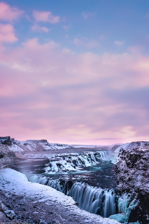 Gullfoss waterfall at sunset