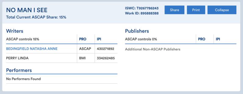 ASCAP - Natasha Bedingfield - Linda Perry - No Man I See