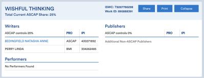 ASCAP - Natasha Bedingfield - Linda Perry - Wishful Thinking