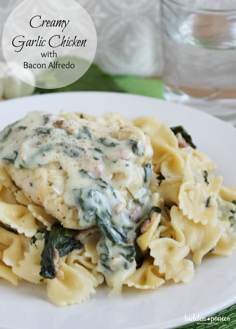 Creamy Garlic Chicken with Bacon Alfredo | hiddenponies.com