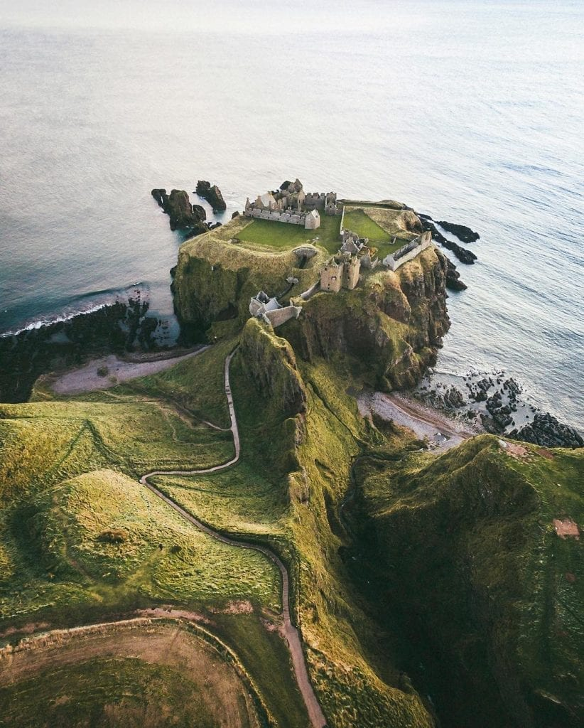 dunnottar castle by drone