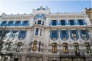 Blaues Jugendstil-Haus in Riga