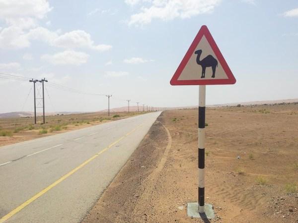 Schild mit Kamel im Oman