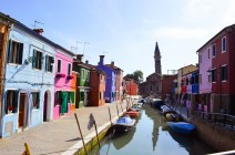 Canal with tower in Burano