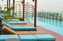 Infinity pool on a Bangkok rooftop