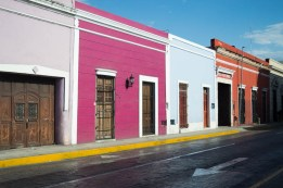 multicolored row of houses in Mérida Mexico