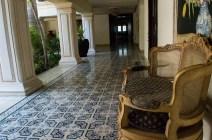 Blue floor tiles in a hotel in Mérida Mexico