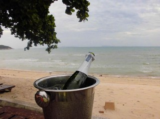Bubbly at the wedding in Koh Samui