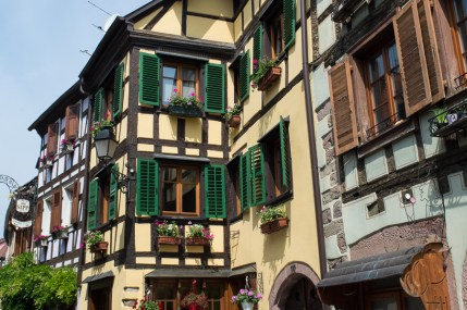 Half timbered houses with flowers in Ribeauvillé