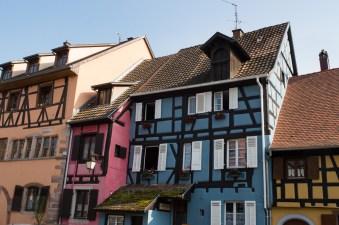 Multicolor house row in Riquewihr