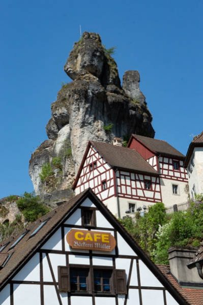 rocks and half timberes houses in Tüchersfeld Franconian Switzerland