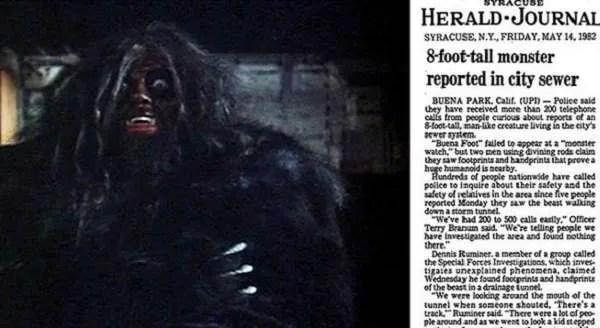 Огромно хуманоидно чудовище се появява в канализация