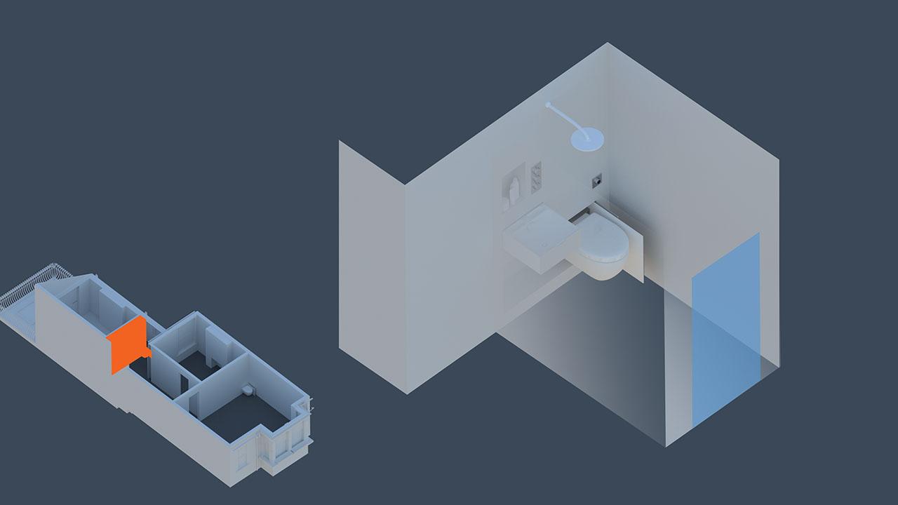 installation idea of the hidealoo showerloo in small bathroom