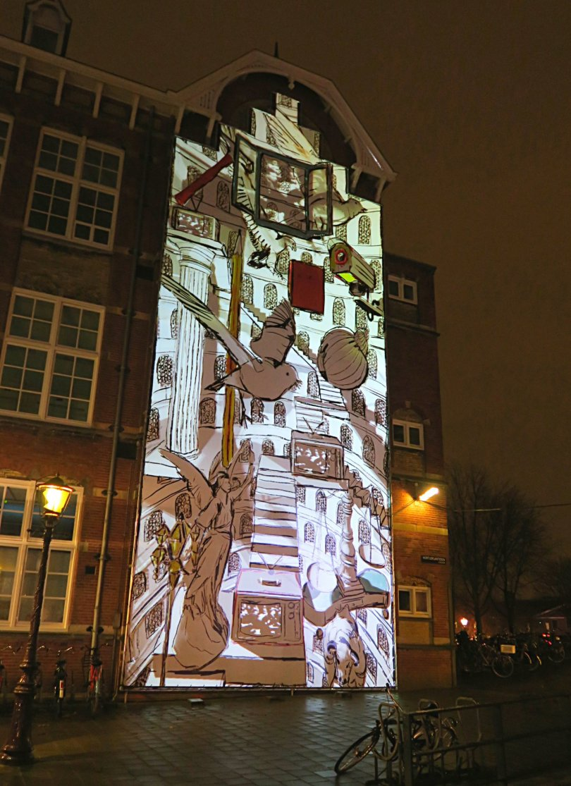 """Canal House"" by Irma de Vries. One of my favourite installations of the light festival. The artist made this living painting using symbols based on the history of Europe and the continent's identity."