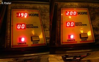 My score on the right, Bill's score on the left.