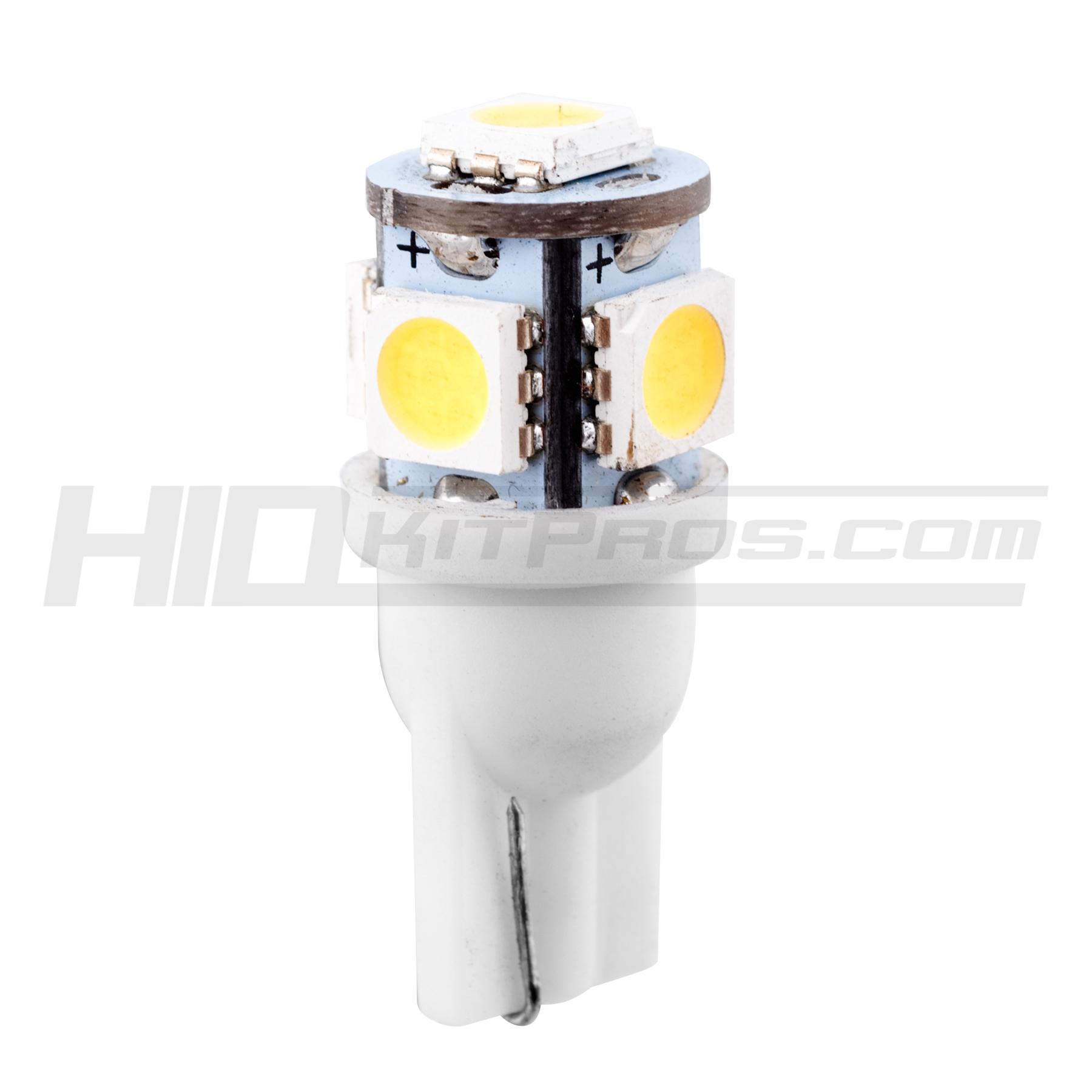 Wedge Light Bulbs 2 bulb LED Chips white 5-SMD SMT 5050 T10