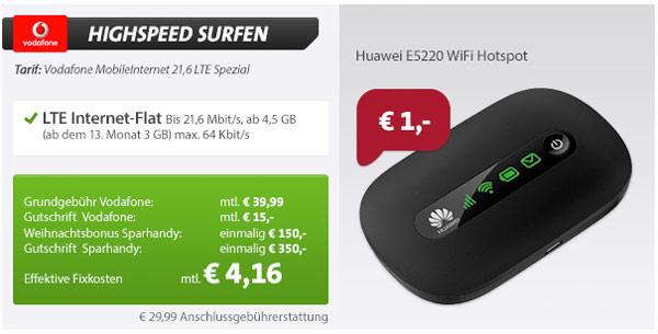 günstige Vodafone Datenflat LTE Huawei ES220