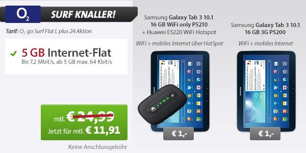 günstige O2 Internet Flat mit Samsung Glaxy Tab3