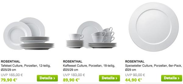 Rosnthal Tasse Becher Teller und Porzellan günstiger kaufen