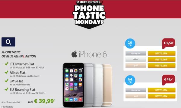 günstiger iPhone6 Vertrag mit Allnet-Flat
