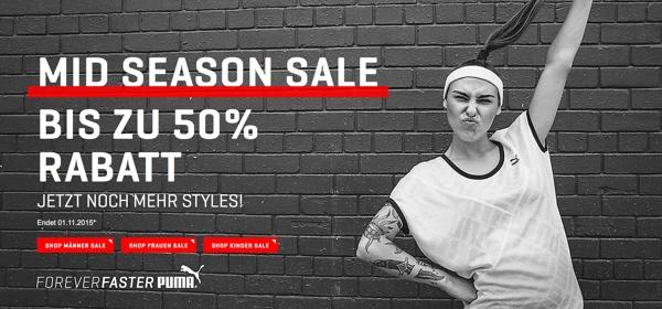 PUMA Sale 50% Rabatt auf viele Artikel