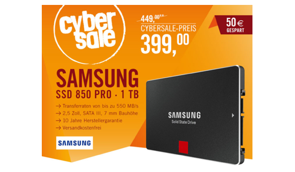 Samsung SSD Festplatte 850 Pro 1TB unter 400 Euro