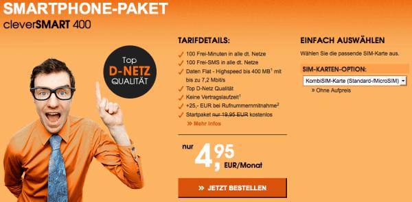 günstiger Smartphone Tarif Vodafone Netz unter 5 Euro