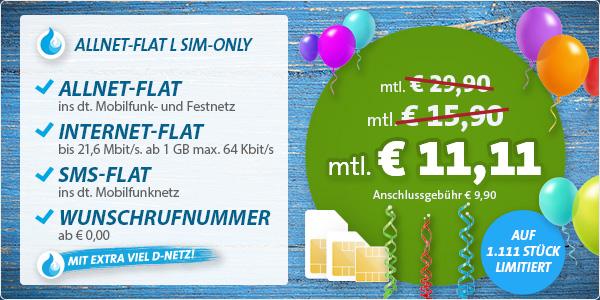 sehr günstige Allnet Flat + SMS Flat und 1GB Surfvolumen unter 12 Euro im Monat