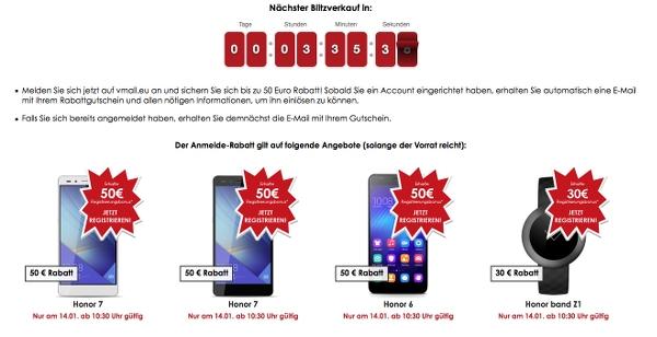 Huawei Honor Gutschein vmall.eu 50 Euro Rabatt