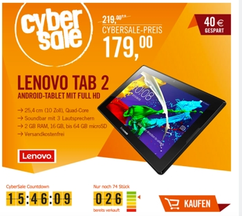 Lenovo Tablet Tab 2 A10-70F 10 Zoll Full-HD Tablet unter 200 Euro