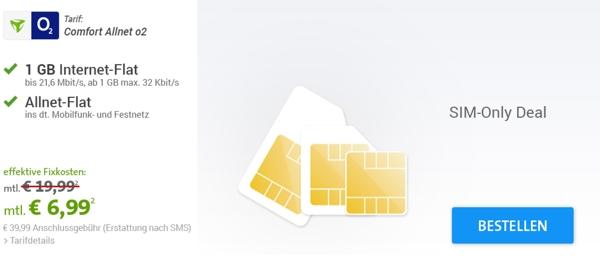 günstiger Smartphone Tarif mit 1GB Surfvolumen