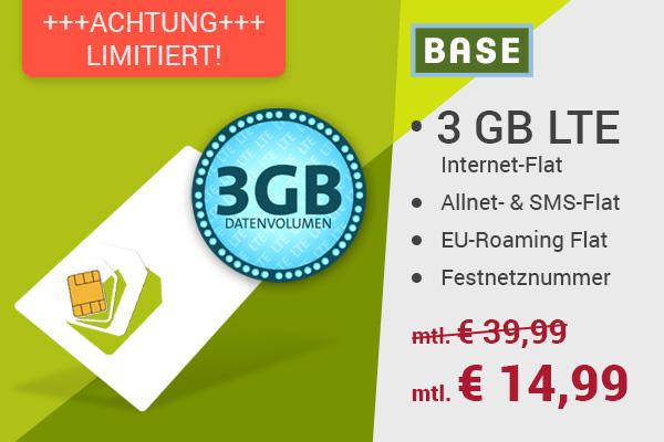 BASE Handyvertrag unter 15 Euro 3GB Surfflat