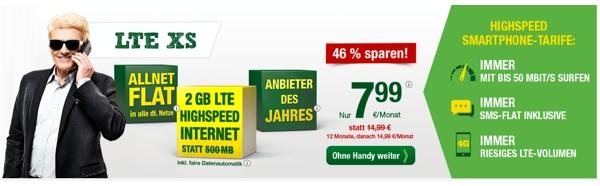 günstiger Handyvertrag LTE 2GB Datenvolumen