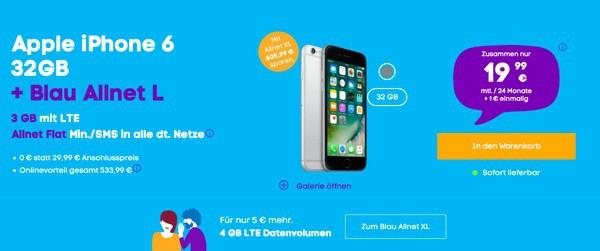 Allnet-Flat iPhone 6 unter 20 Euro im Monat