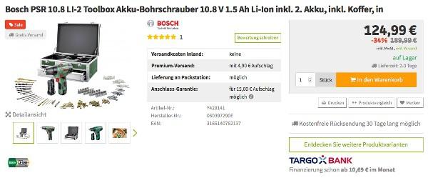 Bosch PSR 10.8 LI-2 Akku Bohrschrauber mit Koffer und Zubehör fünstiger kaufen