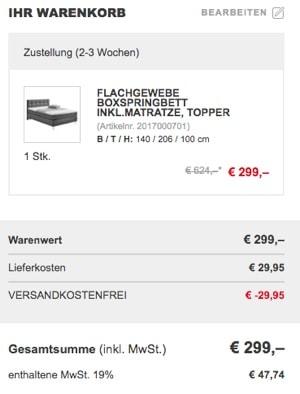 G nstiges boxspringbett f r unter 300 euro for Ohrensessel unter 300 euro
