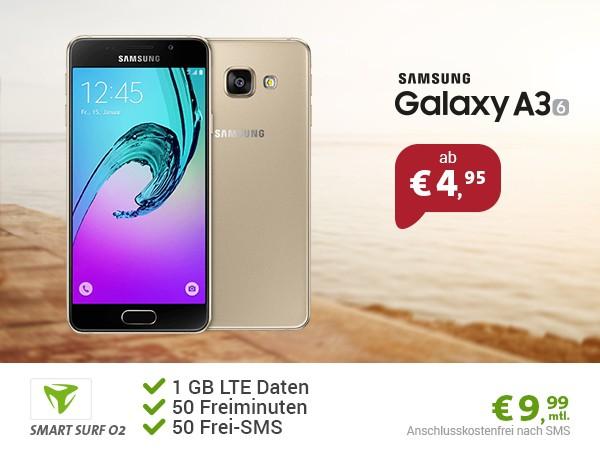 LTE surfen + Freiminuten + Smasung Galaxy A3 unter 10 Euro im Monat