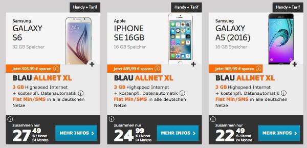 günstiger Handyvertrag mit Smartphone iPhone Samsung