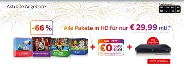 SKY Angebot unter 30 Euro im Monat