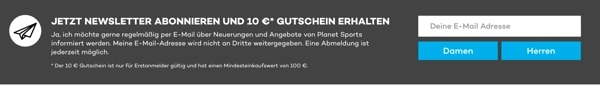 planet-sports.de Newsletter Gutschein 10 Euro