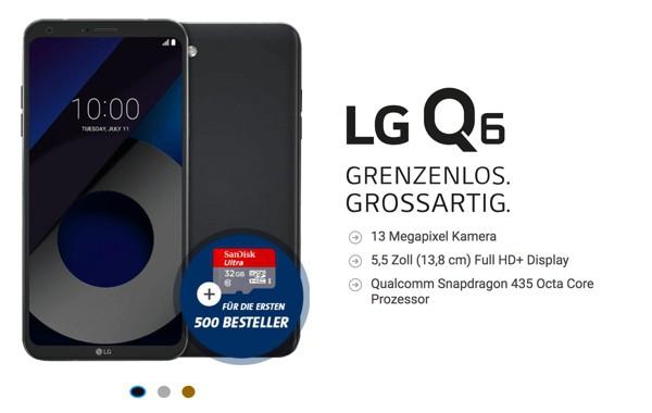 LG Q6 Handyvertrag mit Gewinn