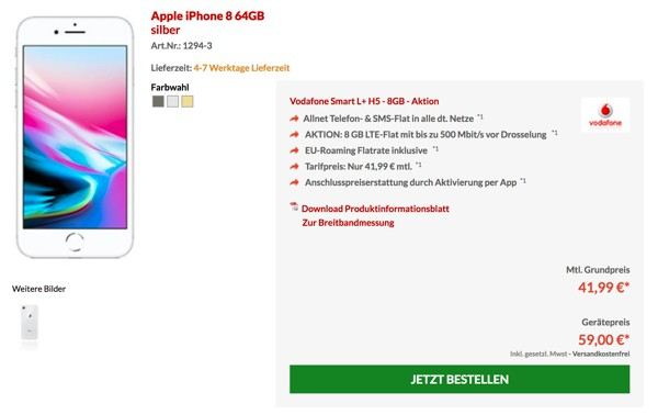 iPhone 8 Vodafone VErtrag