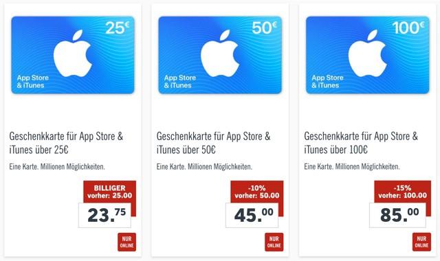 iTunes Karten günstiger kaufen Rabatt