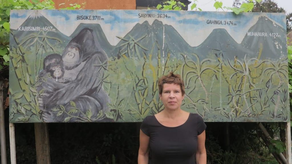Gemalte Skizze der Virunga-Vulkankette in Ruanda