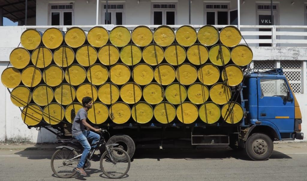 Straßenzug in Kochi in Indien