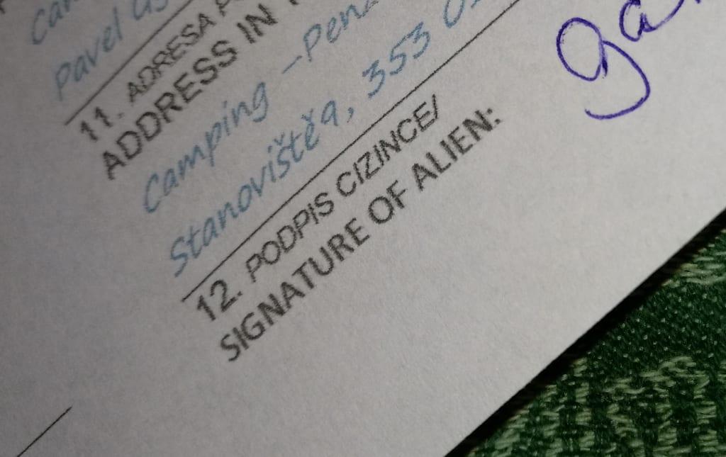 Unterschrift auf einem Anmeldeformular