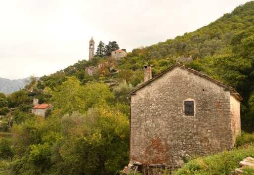 Aufgegebene Häuser in grüner Landschaft