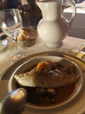 Fisch mit Brühe auf einem Teller